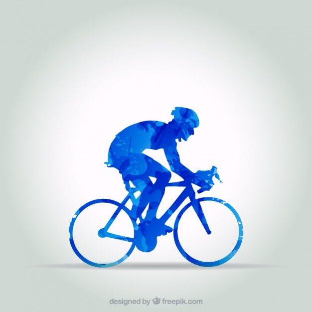 Ciclista azul no estilo abstrato Vetor grátis