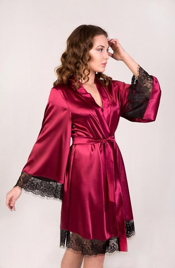 Satin robe Black lace robe Bridal robe Bridesmaid robe Kimono robe ... 7e72e64fe4be