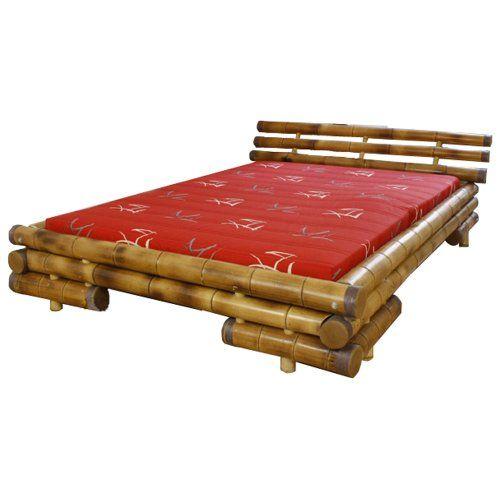 Homestyle4u Bambusbett Futonbett Bambus Bett 200 x 200 cm in braun Doppelbett Bettgestell inkl. Lattenrost
