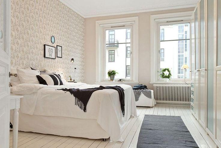 idées de décoration blanche, grise et noire dans la chambre scandinave adulte
