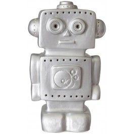 Heico, Lamp robot zilver Figuurlamp van het Duitse merk Heico in de vorm van een robot. Deze schattige vintage lamp geeft een zachte sfeerverlichting, net genoeg om kleine kinderen een heerlijke nachtrust te bezorgen.  De kindvriendelijke lampen van Heico zijn gemaakt van stevig kunststof, ze kunnen wel tegen een stootje. #heico #lamp #verlichting #sfeerlamp #kinderkamer #babykamer #robot #jongen #jongenskamer #zilver #engeltjesendraken #leiden