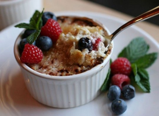 Creme Brulee oatmeal using a rice cooker and broiler - nice!