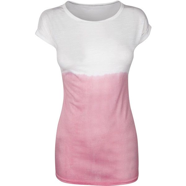 Pink Dip Dye T-Shirt ($8.62) ❤ liked on Polyvore featuring tops, t-shirts, shirts, dip dye t shirt, polyester t shirts, pink tee, pink top and pink shirt