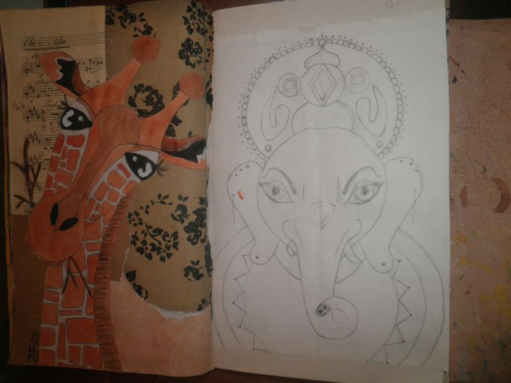Graffe art journal page, & Ganesh inspired elephant sketch for a painting, by Jackie Peniuk