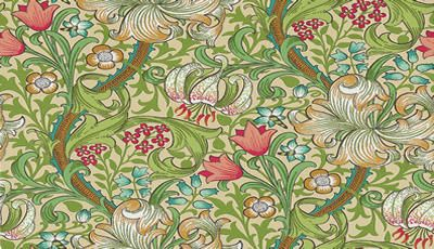 Golden Lily Red / Green wallpaper by Morris
