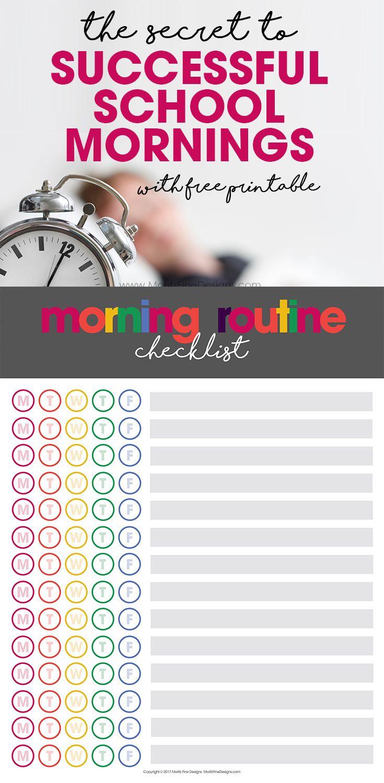 The Secret to Successful School Mornings | free printable | morning routine chart | kids, tweens & teens morning checklist via @moritzdesigns