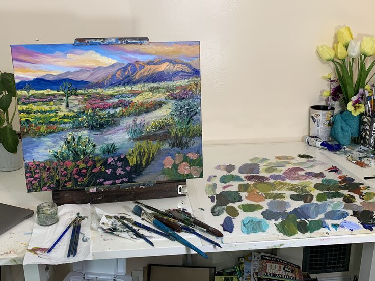 Working On A New Painting Of Joshua Tree NP, Artist Steph