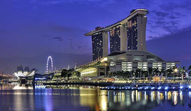 Marina Bay Sands is an integrated resort fronting Marina Bay in Singapore. At its opening in 2010, it was billed as the world's most expensive standalone casino property at S$8 billion, including the land cost. #Singapore, #resort, #attraction, #landmark, #entertainment, #travel, #destionation