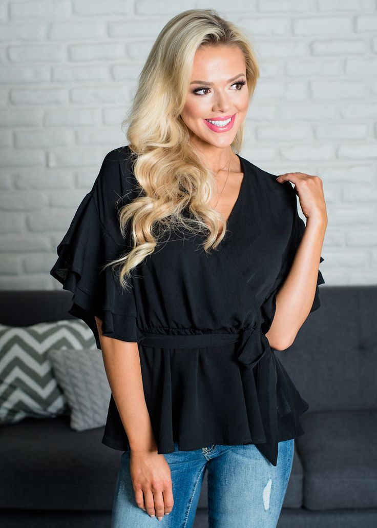 1/2 Sleeve, Ruffles, Solid Color, Top, Online Boutique, Online Shopping, Fashion, Fashion Blogger, Style, Utah Boutique, Women's Clothing, Modern Vintage Boutique, MVB, Boutique