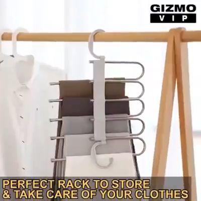 Stainless steel multi-functional drying trouser rack multi-layer storage folding trouser rack Home