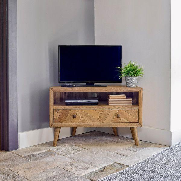 Parquet Mid Century Corner Tv Unit Oak Furnitureland Corner Tv Unit Oak Corner Tv Unit Corner Tv Cabinets Oak corner television stand