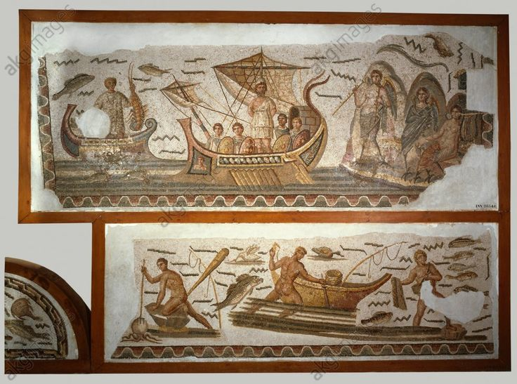 Ulysses and the Sirens / Rom. mosaic Art romain, 3e siècle.  Ulysse et les Sirènes.  (Homère, Odyssée). Mosaïque, 3,8 × 1,3 m. Provenance : Dougga (Tunisie), maison d'Ulysse.