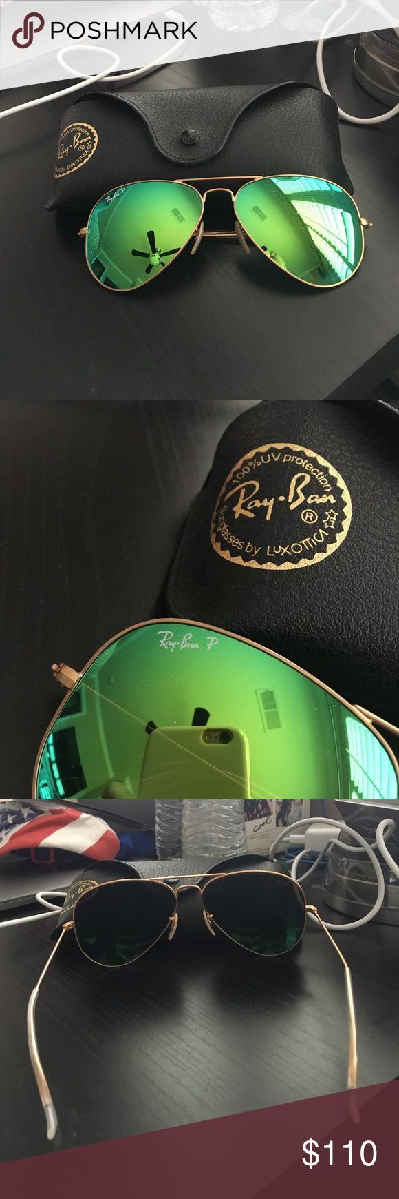 Ray Ban polarized green reflective aviators Brand new in great condition Ray-Ban Accessories Sunglasses