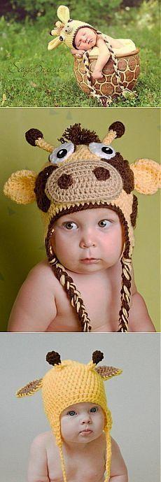 Детская шапка крючком «Жирафик» | Самоделкино
