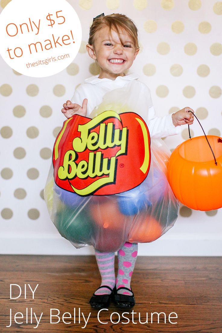 This is the easiest homemade Halloween costume out there. Your kids will love this jelly bean costume, and you will love that is only takes $5 to make.