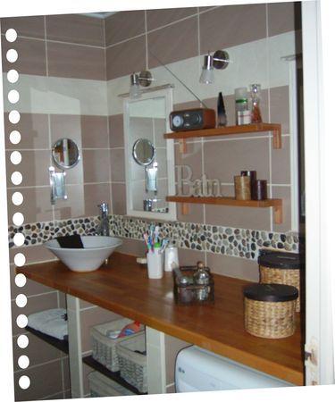 salle de bain bois, galets, taupe, lin...