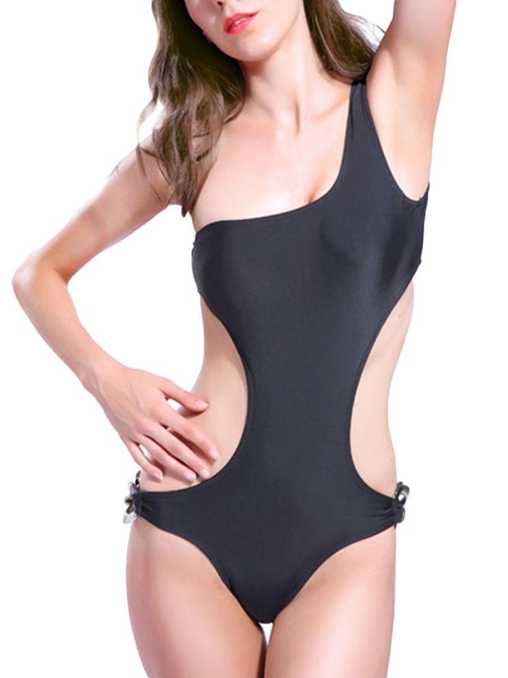 Traje de baño de una pieza para mujer Army Green Rope para mujer Triangle One Piece Swimsuit (tamaño : L) PAA6R