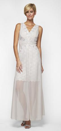 This Beautiful Sequined Almondine Lace Tail Dress Has A Fantstic Sheer Chiffon Over Skirt
