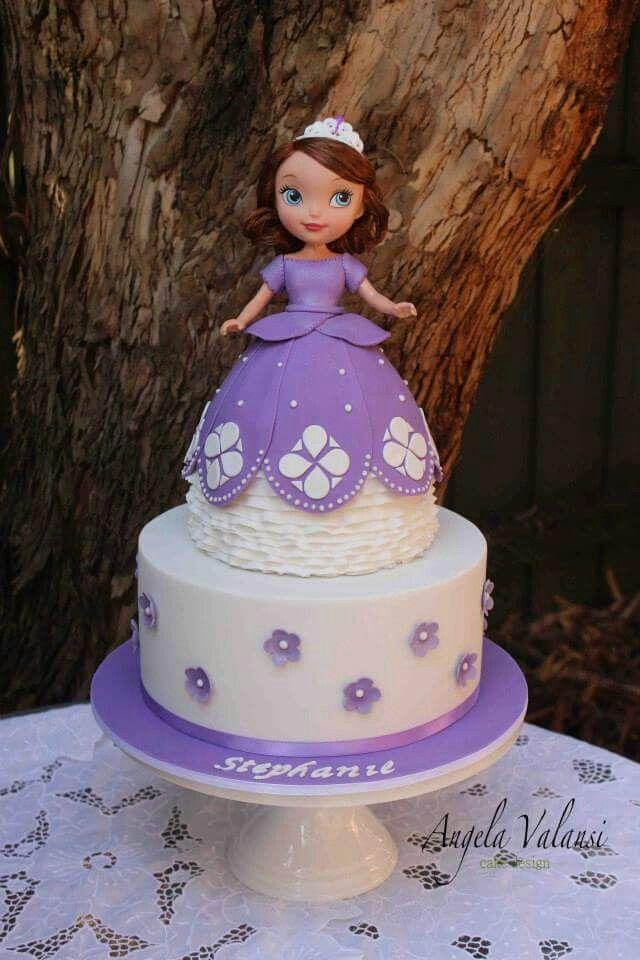 Sophia the first purple sugar flower birthday cake