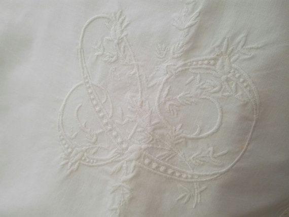 C Monogramed Euro Sham  Pillow Cover ca1940 by GracesAntiquesShop
