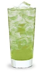 The Appleade is a green drink made from Pucker sour apple schnapps, vodka and lemonade, and served over ice in a highball glass.