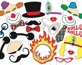 Carnival Party Photo booth Props Set - 22 Piece PRINTABLE - Circus party, PhotoBooth, Clowns, Ring leader, Trapeze girl, Strong man