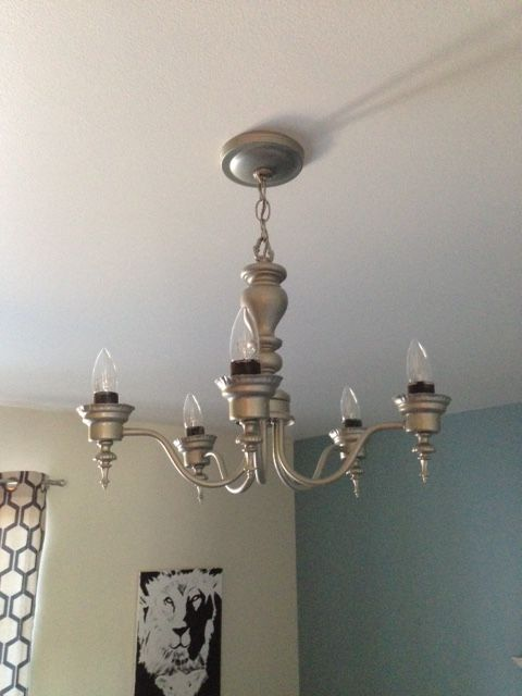 "After.  Chandelier is now spray painted ""satin nickle."""