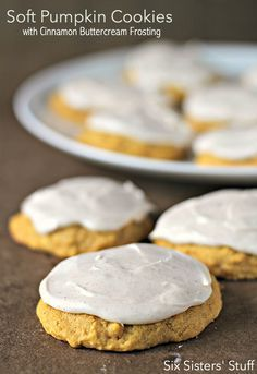 Soft Pumpkin Cookies with Cinnamon Buttercream Frosting from http://SixSistersStuff.com - the perfect cookie!