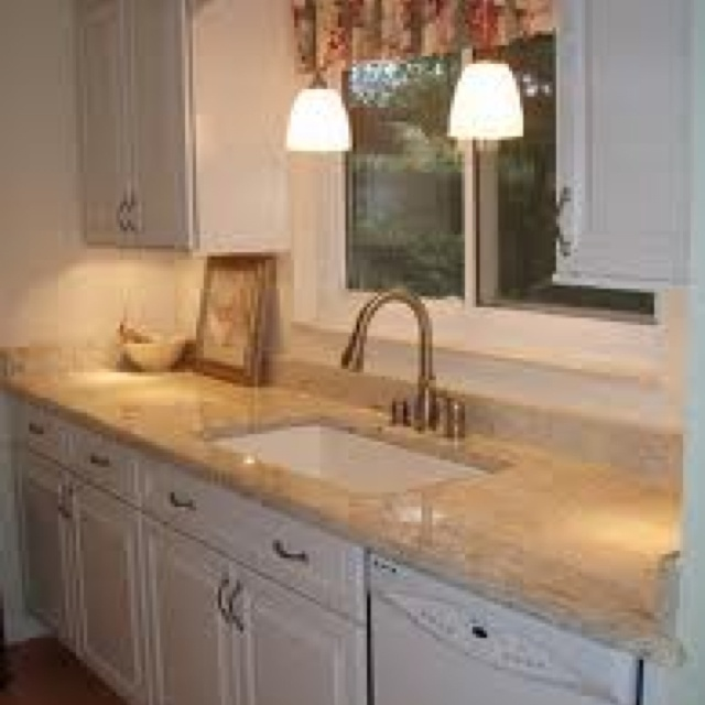 Gorgeous White Galley Kitchen Design Ideas With Modern White Wood Base  Kitchen Cabinet That Have Beige Granite Countertop Complete With The Sink  Also ...