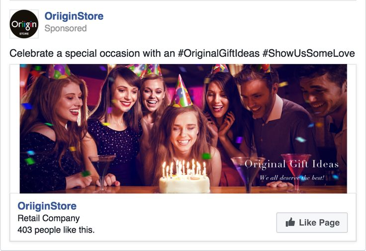 We created this Original, beautiful and warm 'Celebrate A Special Occasion' advertising campaign to inspire more Page Likes and Followers to our FaceBook page. Campaign was developed from our key USP (Unique Selling Proposition) OriiginStore – Original Gift Ideas. We all deserve the best!