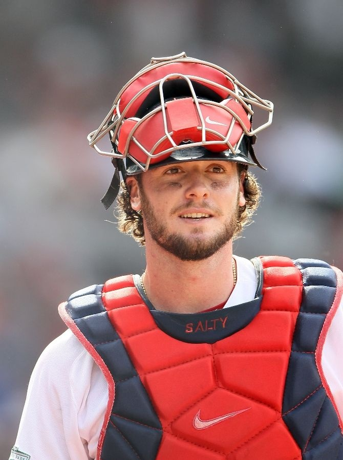 Jarrod Saltalamacchia...catcher for the Boston Red Sox.....my son thinks he's the greatest person ever and wants to imitate his every move!