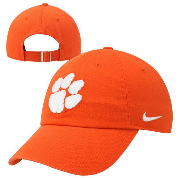 Nike Clemson Tigers Ladies Campus Adjustable Performance Hat - Orange ($24) ❤ liked on Polyvore featuring accessories, hats, orange, crown hat, long hat, orange hat, nike hats and tiger print hat