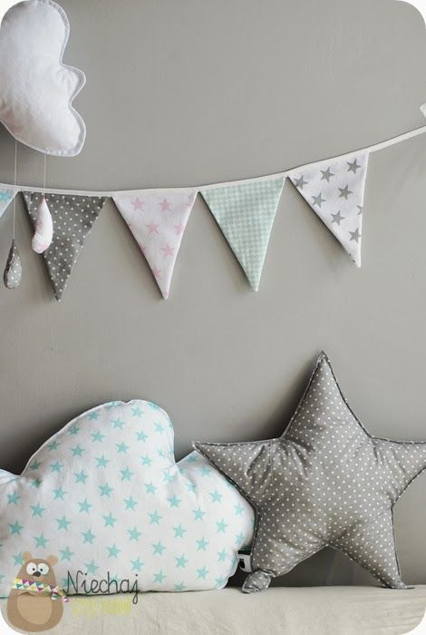 grey white pink mint nursery star cloud garland