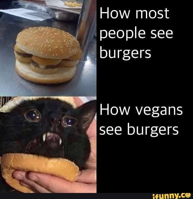 How Vegans See Burgers Ifunny Really Funny Memes Funny Funny Memes