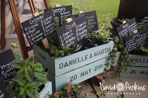 Crate table plan with chalk boards