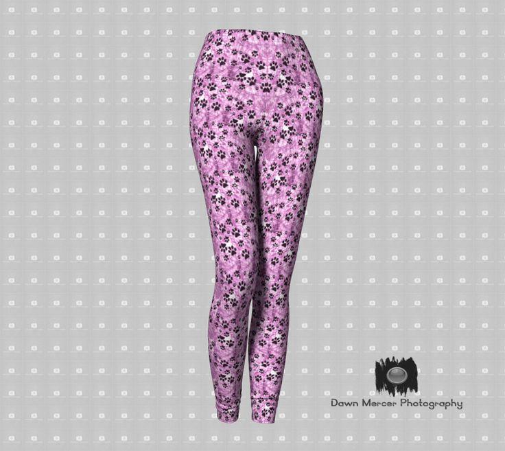 Pink Paw Print Leggings, Pink Dog Paw Leggings, Paw Print Designer Legging, Yoga Pants, Art Tights, Premium Fashion Leggings, FREE SHIPPING by DawnMercerPhoto on Etsy