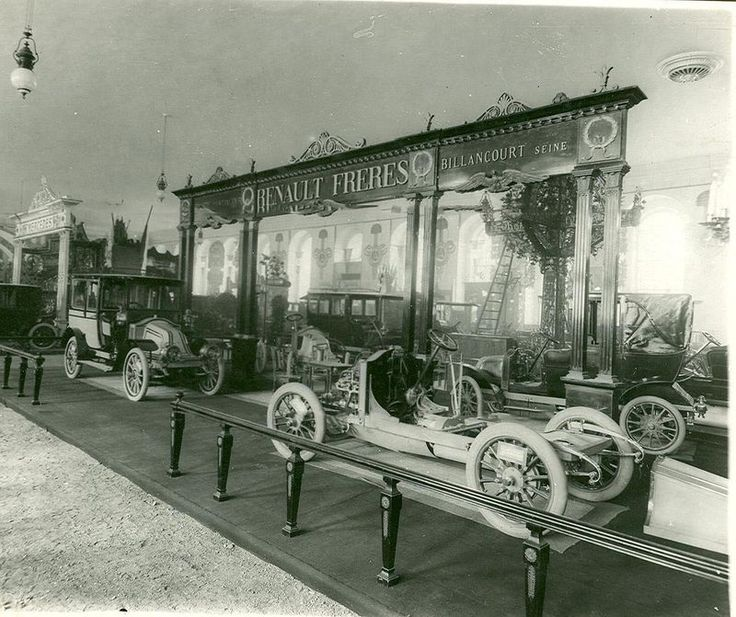 The Renault Brothers exhibit at the St Petersburg Motor Show, Russia, in 1907
