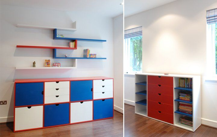 Bright and hard wearing lacquered drawers and toy storage.