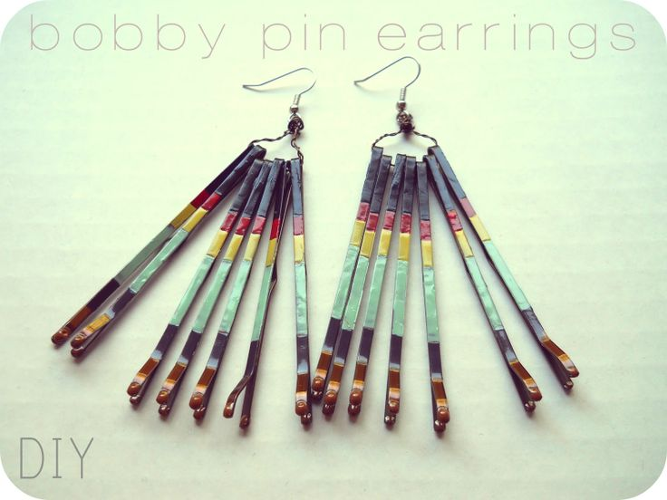 Bobby Pin Earrings - bobby pins, nail polish, wire, earring hook.  It could also be made into a necklace.