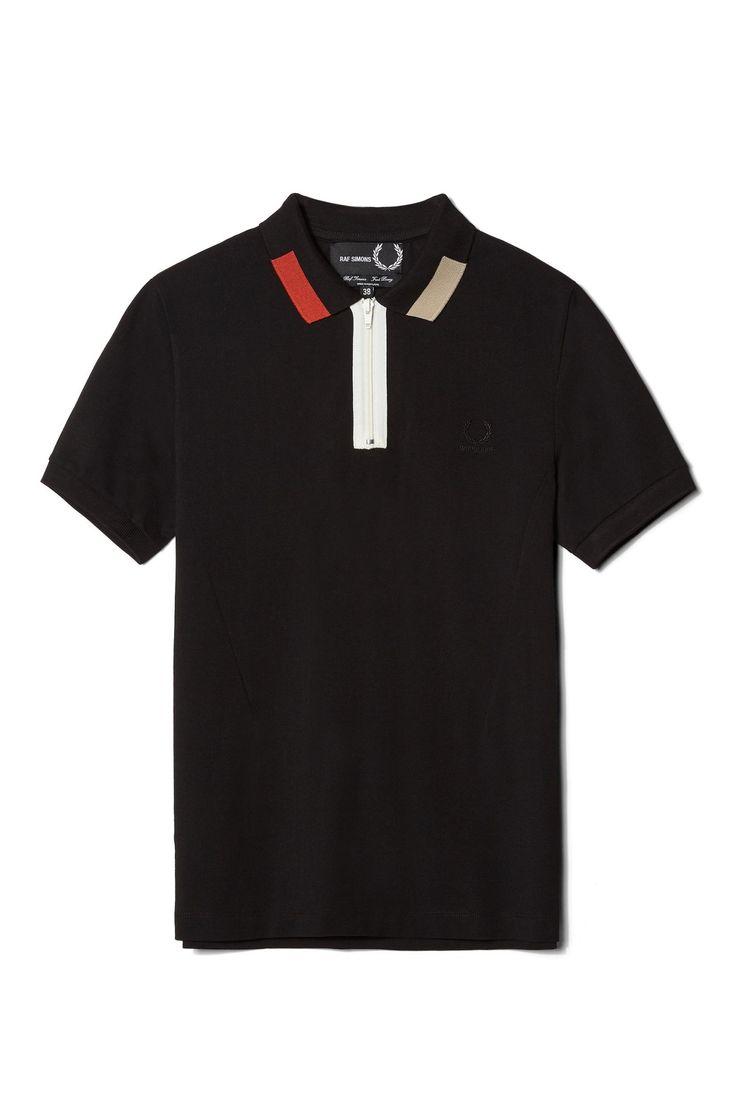 Fred Perry - Raf Simons Colour Block Pique Shirt Black