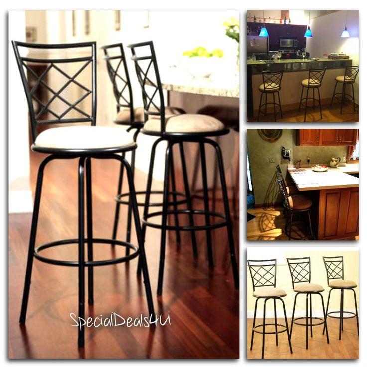 Swivel Metal Stools 3 Set Adjustable Bar Height Black Kitchen Counter Stool NEW #SD4U #ModernContemporary
