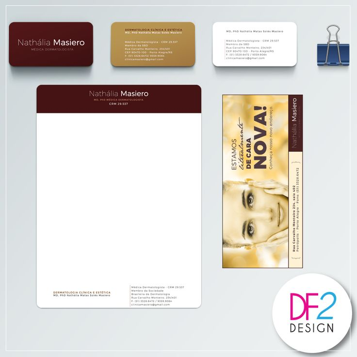 [Design Gráfico] Você sabe a importância da identidade visual para a sua marca? Nós da DF2, desenvolvemos a marca, o cartão de visitas, receituários e folders para Nathália Masiero, uma médica dermatologista de Porto Alegre/RS. #design #identidadevisual #conceito
