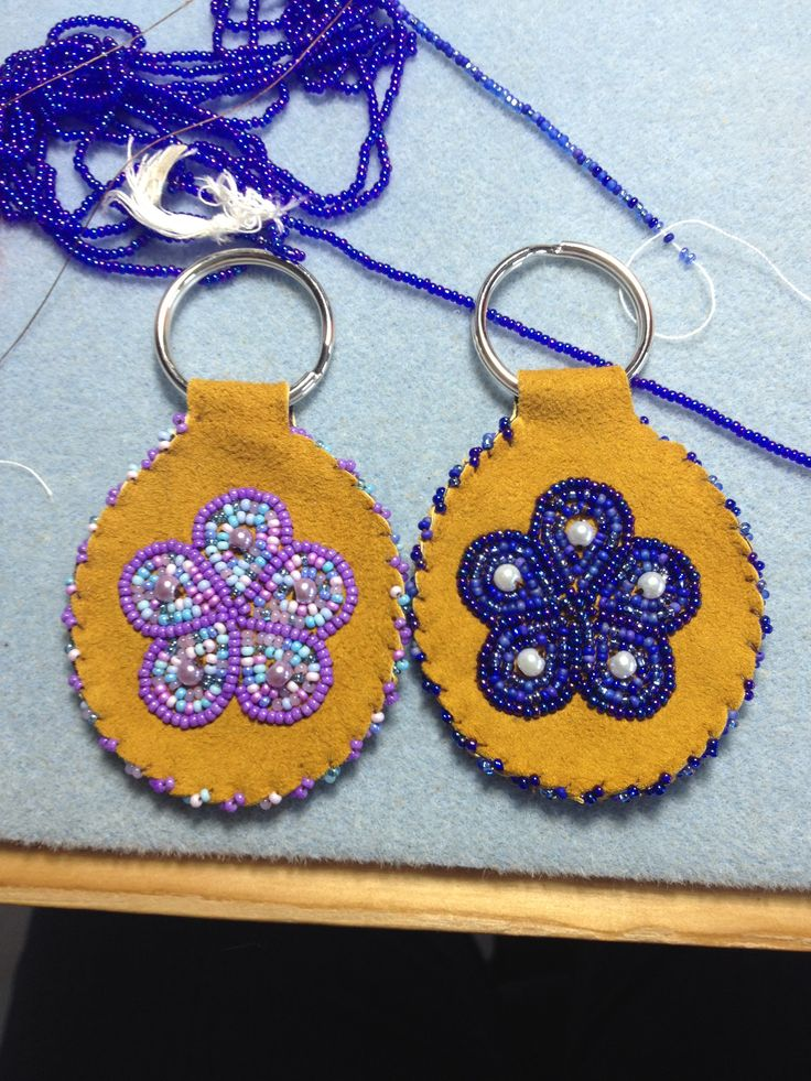Blue an Purple Keychains by Alaska Beadwork - $15.00 each