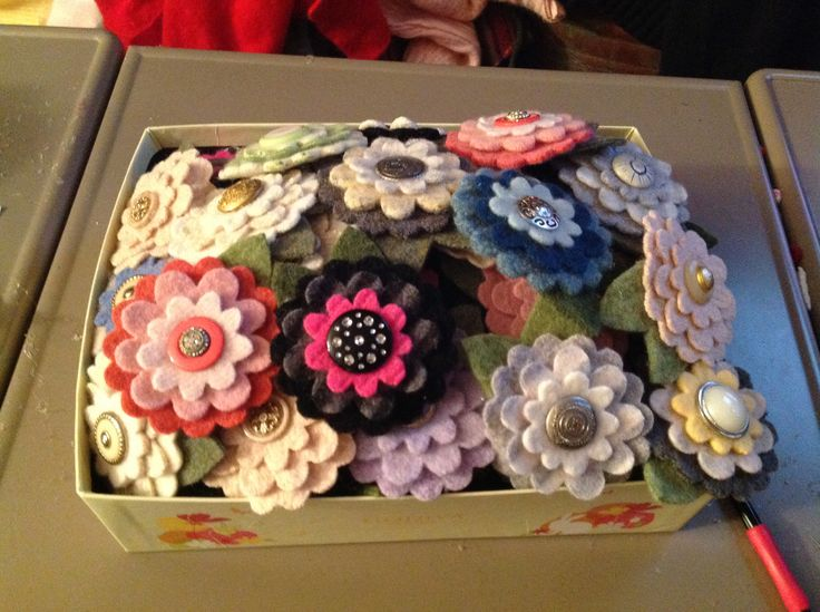 Flower pins made from up cycled wool sweaters. Sweetsistershop.com