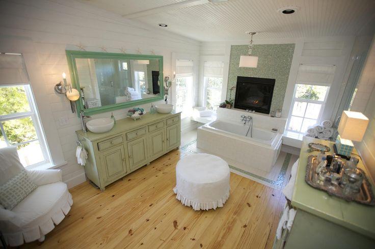 Seafoam green country bathroom retreat