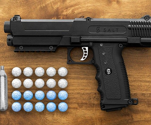 Protect your home and family without the possibility of ending someone's life by using the non-lethal salt firing self defense gun. Instead of traditional ammo, it fires bullet-sized capsules designed to release a toxin that immediately incapacitates your target.