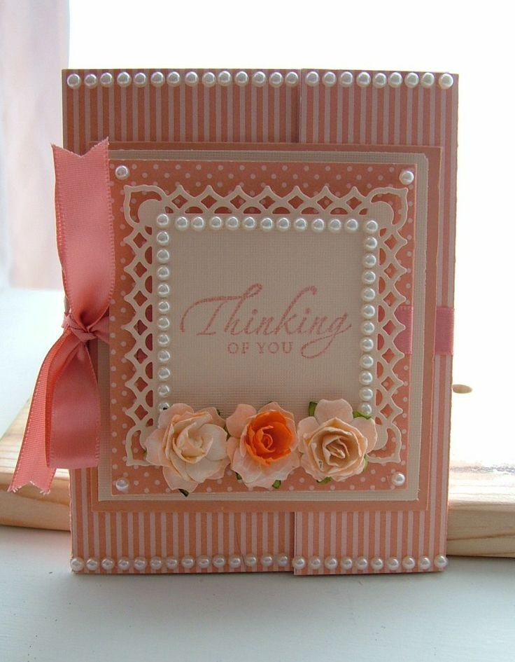 "Fold Out Card,  4 1/4"" x 5 1/2"". Paper Is In Similar Colors But Different Patterns.  Melon Berry With 3 Little Roses."