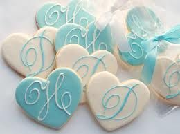 Monogrammed CookiesWedding Favors, Rolls Pin, Heart Cookies, Tiffany Blue, Bridal Shower, Wedding Monograms, Monograms Cookies, Wedding Cookies, Cookies Favors
