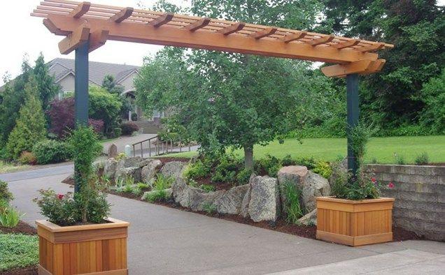 Wide Arbor, Entry Pergola, Boulders Retaining  Pergola and Patio Cover  Woody's Custom Landscaping Inc  Battle Ground, WA