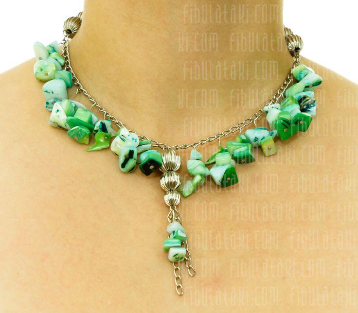 Fibula Takı / Kolye - taş - boncuk - yeşil